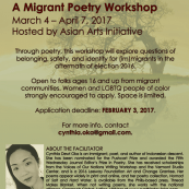 Cynthia Dewi Oka Leads a Migrant Poetry Workshop: Apply by February 3