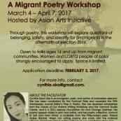 Cynthia Dewi Oka Leads a Migrant Poetry Workshop: Apply by February 3